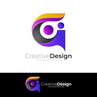 Gロゴテンプレート、モダンなアイコンベクトルと3dスタイル