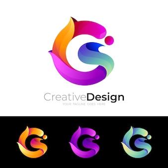 Gロゴベクトル画像、カラフルなデザインイラスト、3dスタイル