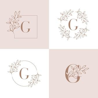 蘭の葉の要素を持つ文字gロゴ