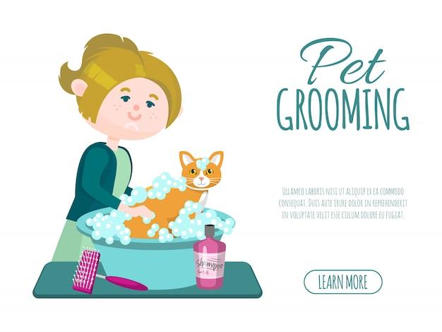 ペットグルーミングビジネス。グルーマー少女はシャンプーでかわいい生g猫を洗っています。ペットグルーミングの広告バナー。