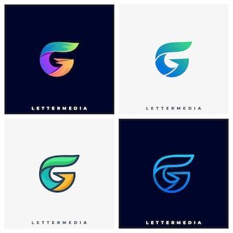 文字gカラフルなイラストのロゴのテンプレート