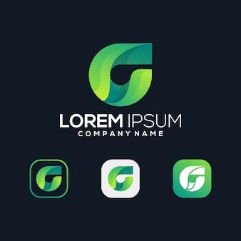 G зеленый лист премиум значок