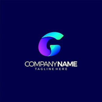 Современный логотип буква g начальный градиент многоцветный дизайн шаблона