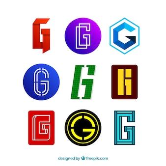 Пакет современных и абстрактных логотипов буквы «g»