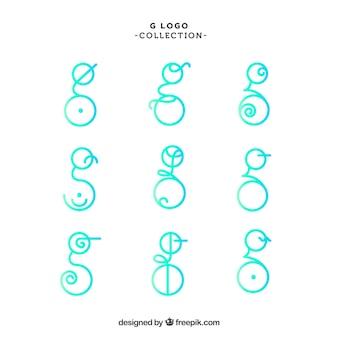 文字「g」の抽象的なロゴ