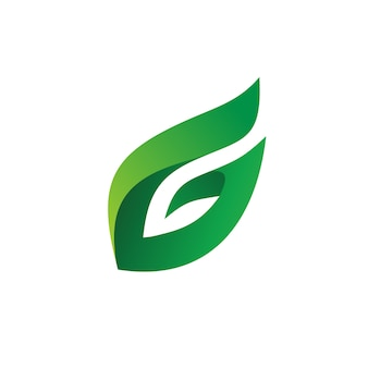 手紙gの葉のロゴのベクトル