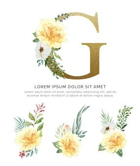花束花コレクション水彩画とアルファベットg。