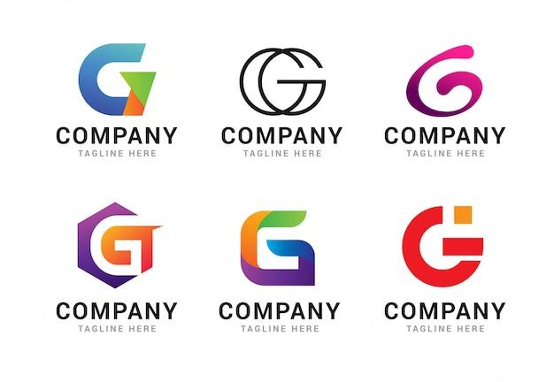 Набор элементов шаблона иконы логотип буква g