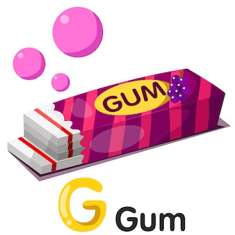 Иллюстрация g шрифта с резиной