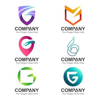 Набор шаблонов логотипа буква g бизнес