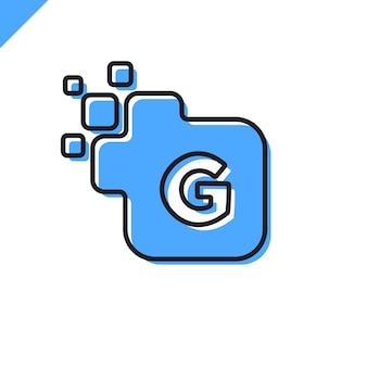 ビジネス企業の正方形文字gフォントロゴデザインベクトル。テクノロジーのためのカラフルなデジタルレターアルファベットテンプレート。ピクセルのロゴ