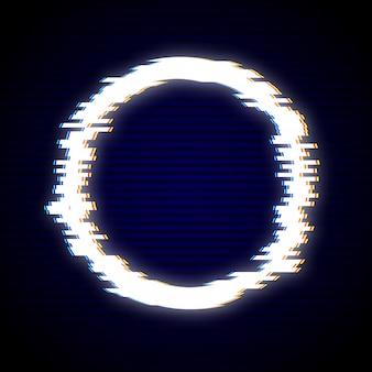 グリッチサークルフレームデザインのベクトルイラスト。歪んだg