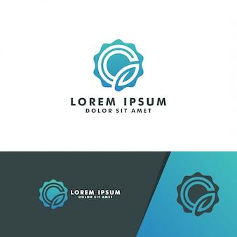 サークル文字gリーフロゴテンプレートロゴデザインベクトル
