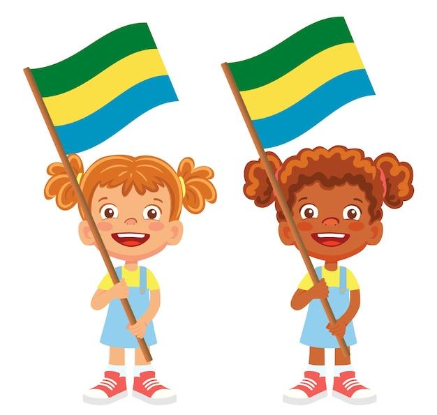 手にガボンの旗。フラグを所持する子供は。ガボンベクトルの国旗
