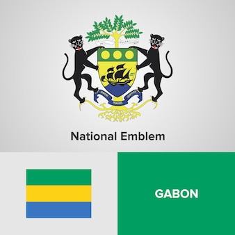 Gabon national emblem and flag