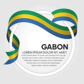 Gabon ribbon flag, vector illustration on a white background