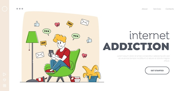 Gadget addiction, cellphone communication landing page template.
