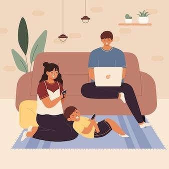 가제트 중독 개념 평면 벡터 일러스트입니다. 휴대용 전자 제품을 사용하는 가족. 소셜 미디어 네트워크 사용자. 스마트 폰과 태블릿을 들고 사람들. 온라인에서 시간을 보내는 부모와 아이들.