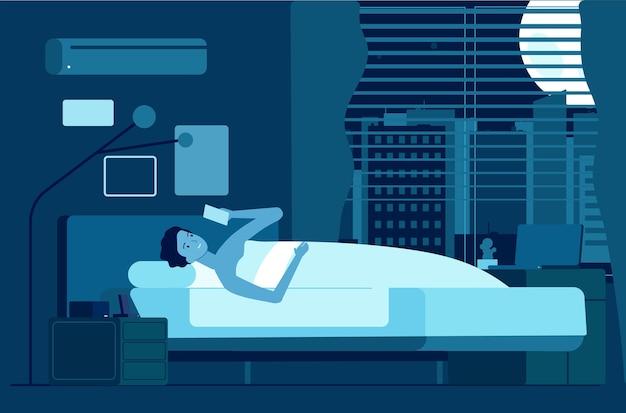 ガジェット中毒。スマートフォンで夜の男、男性の不眠症。睡眠時間、少年は暗い部屋のベクトル図で目を覚ます。中毒ガジェット、インターネットメディアオンラインナイト
