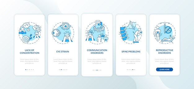 Симптомы гаджетической зависимости на экране страницы мобильного приложения с концепциями