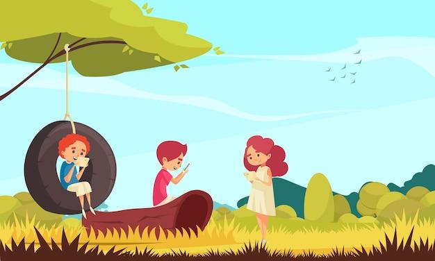 Gadget addiction. with children in nature using smarpthones