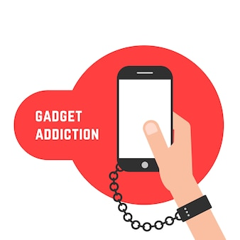 Gadget addiction with phone and chain