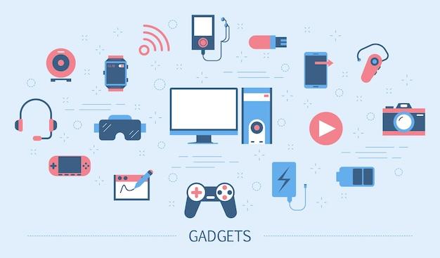 ガジェットのコンセプト。デジタル技術のアイデア。コンピューター、携帯電話、カメラ、スマートウォッチ。カラフルなアイコンのセットです。図