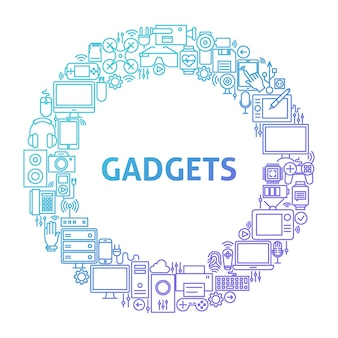 Gadget line icon circle concept. vector illustration of technology and electronics objects.