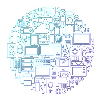 Gadget line icon circle design. vector illustration of technology and electronics objects.