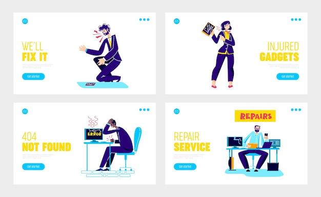 Сервис по ремонту и настройке гаджетов с разочарованными офисными работниками и сломанными устройствами
