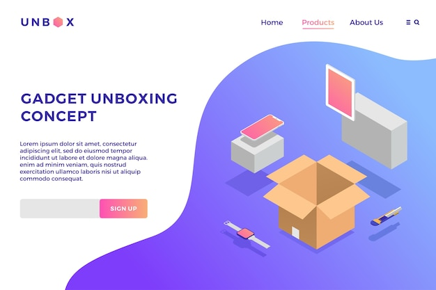 Gadget unboxing isometric vector illustration of box phone tablet smartwatch landing page