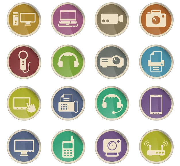 Gadget vector icons in the form of round paper labels