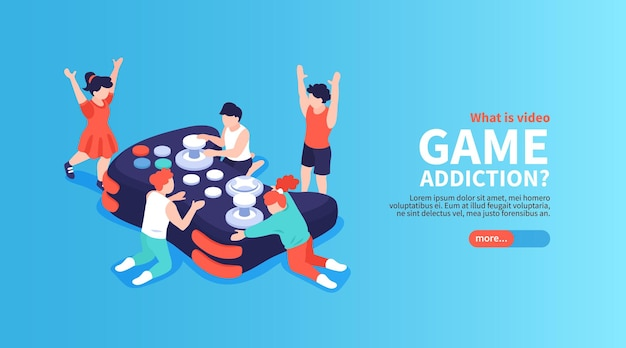 Gadget and video games addiction isometric banner with children and teens  illustration