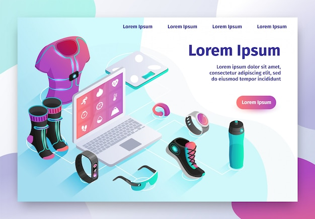 Gadgets for active life isometric vector website