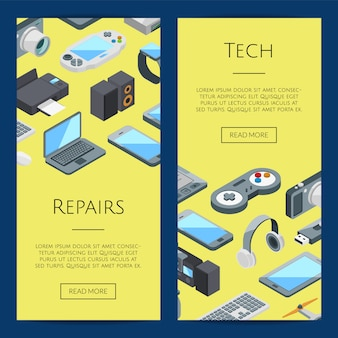 Gadgets banners.  isometric gadgets icons web