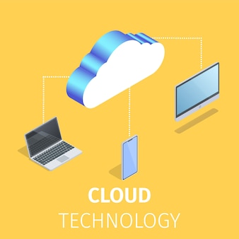 Gadgets connected to storage of cloud technology