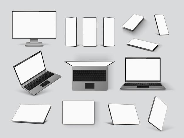 ガジェットのモックアップ。リアルなノートパソコン、携帯電話、コンピューターのモニター画面とタブレットを正面、角度、上面図で表示します。 3dスマートデバイスベクトルセット。イラストノートパソコンのタブレット電話の空白の画面