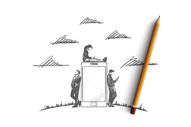 가제트 시간 개념. 가제트와 함께 손으로 그린 사람. 스마트 폰과 태블릿을 사용하는 남녀. 인터넷 고립 된 그림을 검색하는 사람들.