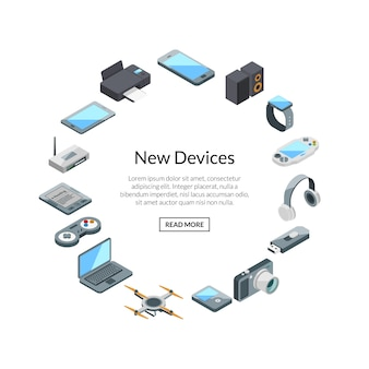 Gadset set label with text.  isometric gadgets icons