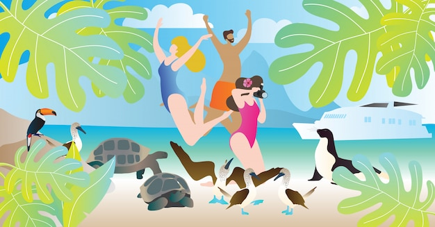 Galapagos islands tours vector illustration