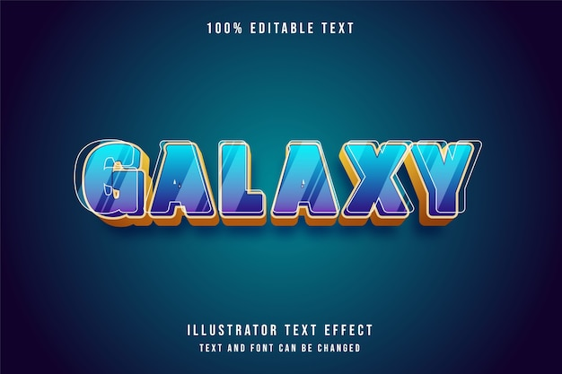 Galaxy,3d editable text effect blue gradation purple yellow style