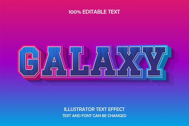 Galaxy, редактируемый текстовый эффект, 3d тень, современный тисненый стиль
