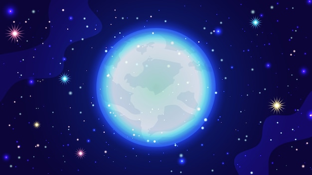 Galaxy background. beautiful cosmic vector illustration template with starry sky, bright moon and galaxies