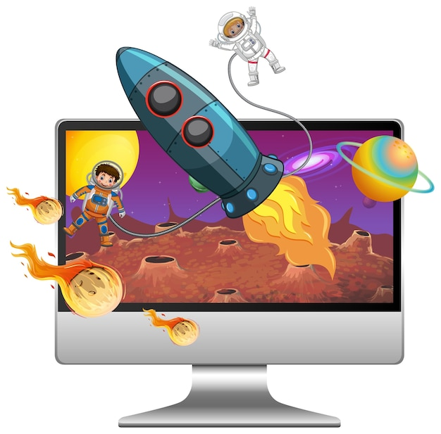 Galaxy background on computer screen