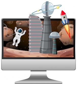 컴퓨터 화면에 갤럭시 배경