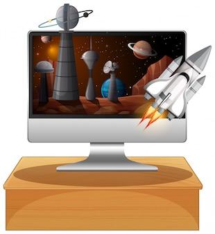 컴퓨터 화면에 갤럭시 배경 프리미엄 벡터