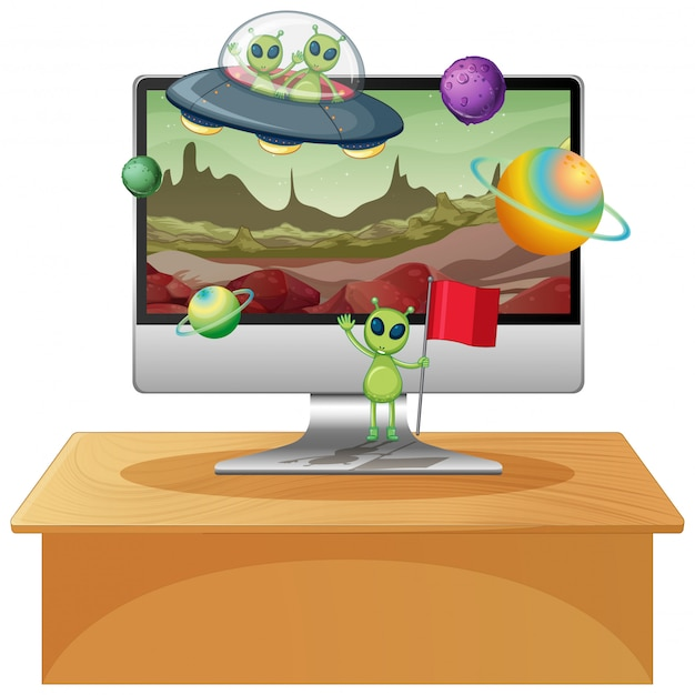 Галактика фон на экране компьютера