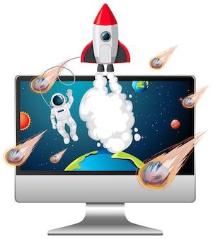 Фон галактики на экране компьютера