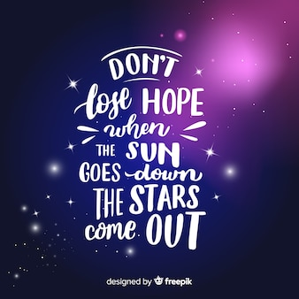 Galaxy background and quote