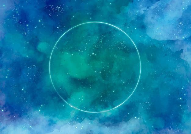 ネオンのサークルと銀河の背景